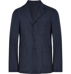 Burberry Navy Slim-Fit Unstructured Silk and Wool-Blend Blazer