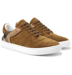 Burberry - Suede and Checked Twill Sneakers