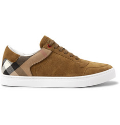 Burberry Suede and Checked Twill Sneakers