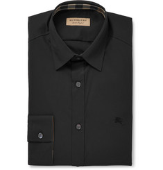 Burberry Black Slim-Fit Stretch-Cotton Poplin Shirt