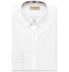 Burberry White Slim-Fit Stretch-Cotton Poplin Shirt