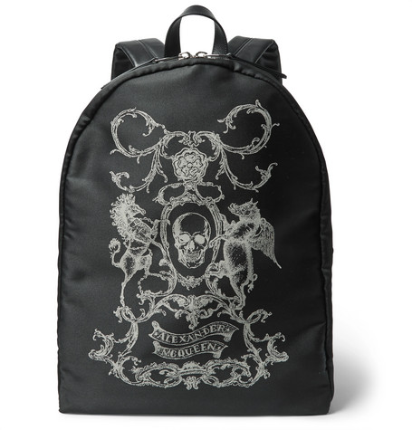 Alexander McQueen - Leather-Trimmed Printed Canvas Backpack - Black