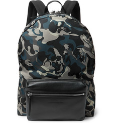 Alexander McQueen Leather-Trimmed Camouflage-Print Shell Backpack