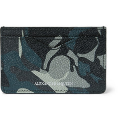 Alexander McQueen Camouflage-Print Pebble-Grain Leather Cardholder