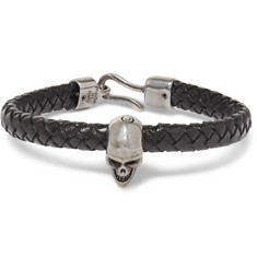 Alexander McQueen - Braided Leather and Burnished Silver-Tone Skull Bracelet