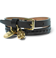 Alexander McQueen Leather and Gold-Tone Wrap Bracelet