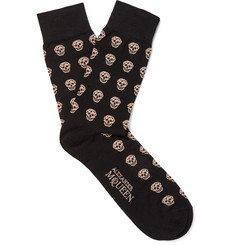 Alexander McQueen - Skull-Patterned Stretch Cotton-Blend Socks