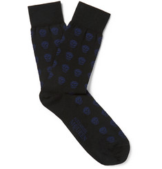 Alexander McQueen Skull-Patterned Stretch-Cotton Socks