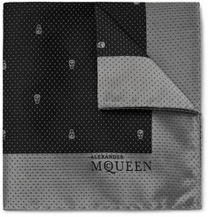 Alexander McQueen Skull and Pin-Dot Silk-Jacquard Pocket Square