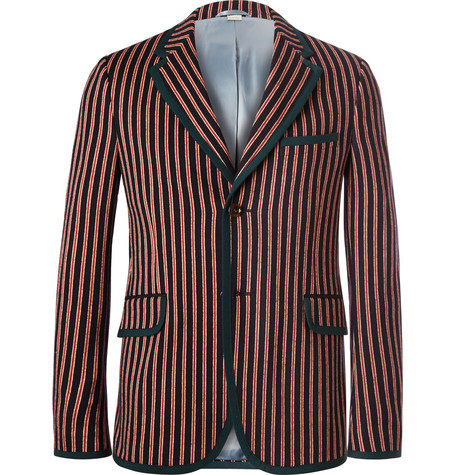Gucci Slim-Fit Striped Wool And Cotton-Blend Suit Jacket In Red