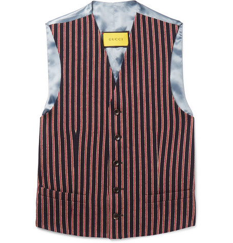 Gucci Slim-Fit Striped Wool And Cotton-Blend Waistcoat In Red