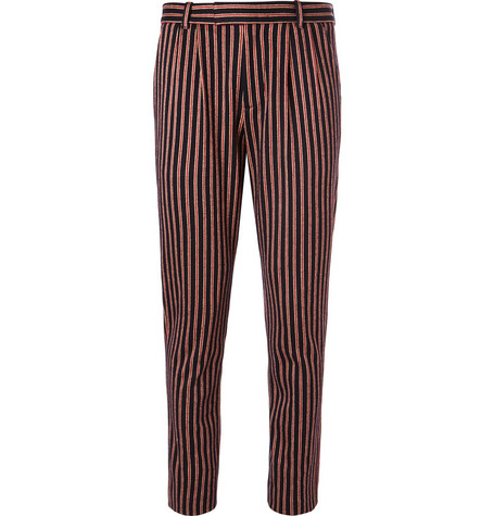 Gucci Slim-Fit Striped Wool And Cotton-Blend Suit Trousers In Red