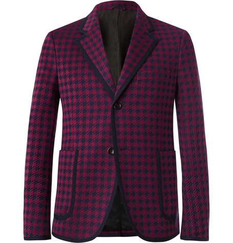 Gucci Burgundy Marco Slim-Fit Contrast-Tipped Houndstooth Woven Suit Jacket