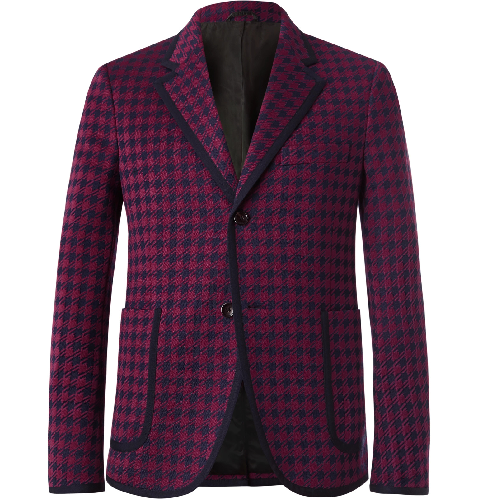 f823f3f4abd Gucci Burgundy Marco Slim-Fit Contrast-Tipped Houndstooth Woven Suit Jacket