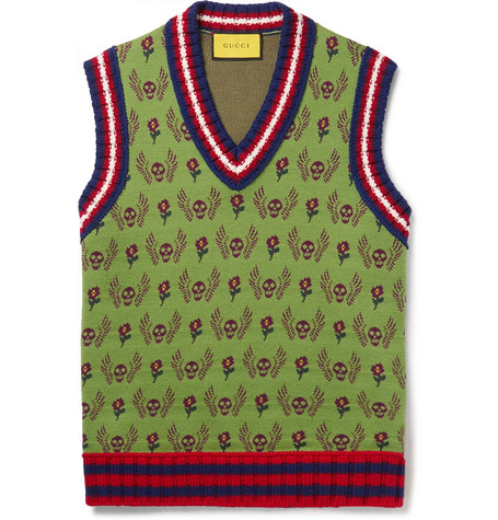 Gucci Slim-Fit Wool And Cotton-Blend Jacquard Sweater Vest In Green