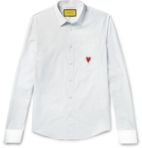 Gucci Double-Cuff Heart-Embroidered Striped Cotton-Poplin Shirt In White