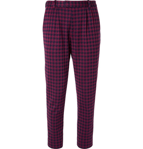 Gucci Marco Slim-Fit Pleated Houndstooth Woven Suit Trousers In Burgundy