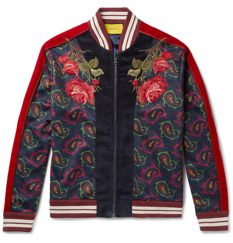 Gucci Slim-Fit AppliquÉD Velvet And Paisley-Print Jersey Bomber Jacket In Red