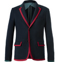 Gucci - Blue Cambridge Contrast-Tipped Stretch Wool and Cotton-Blend Blazer