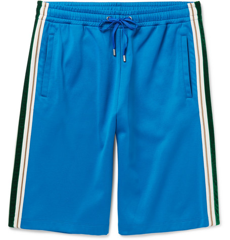 Gucci Wide-Leg Faille And Velvet-Trimmed Jersey Shorts In Blue