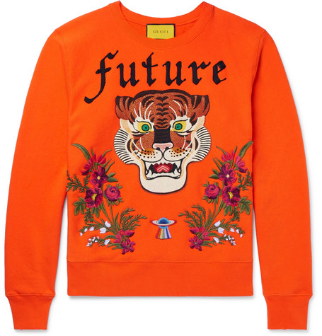 Gucci Embroidered And AppliquÉD Loopback Cotton-Jersey Sweatshirt In Orange