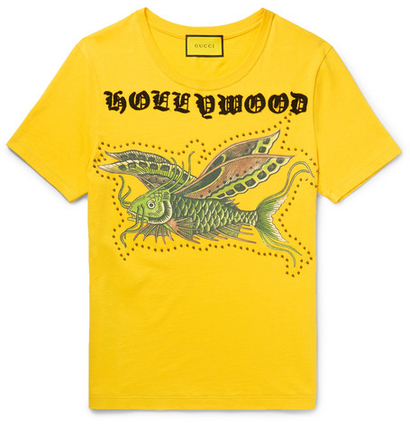 Gucci Embellished Printed Cotton-Jersey T-Shirt In Yellow