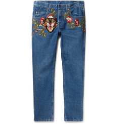 Gucci Slim-Fit Embroidered Denim Jeans