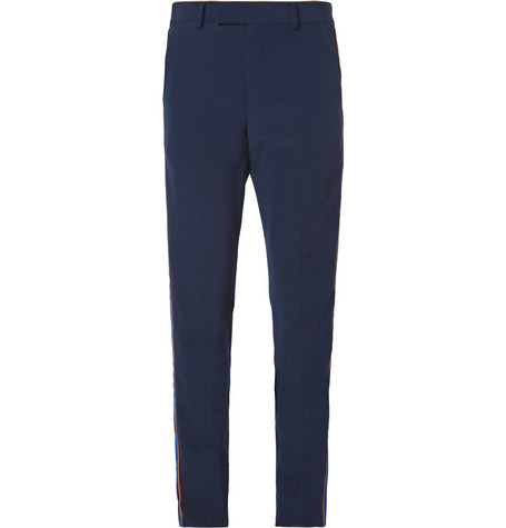 Gucci Slim-Fit Velvet-Trimmed Wool Trousers In Blue