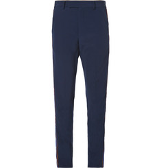 Gucci Slim-Fit Velvet-Trimmed Wool Trousers