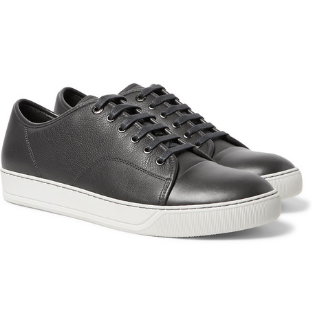 Cap-toe Leather Sneakers - Charcoal
