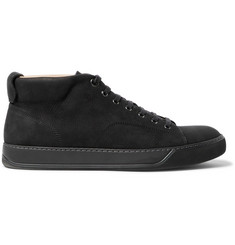 Lanvin Cap-Toe Nubuck High-Top Sneakers