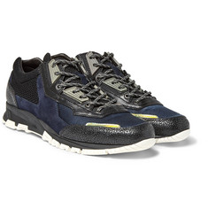 Lanvin Textured-Leather, Suede and Mesh Sneakers