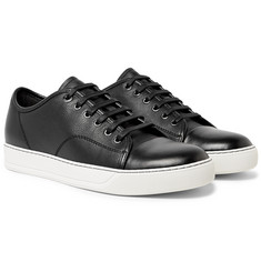 Lanvin - Cap-Toe Pebble-Grain Leather Sneakers