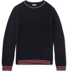 Lanvin Slim-Fit Stripe-Trimmed Baby Alpaca and Merino Wool-Blend Sweater