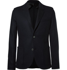 Lanvin Blue Pinstriped Wool and Cotton-Blend Blazer