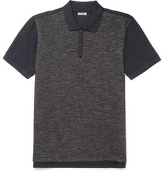 Lanvin Slim-Fit Piqué-Panelled Wool and Cotton-Blend Jersey Polo Shirt