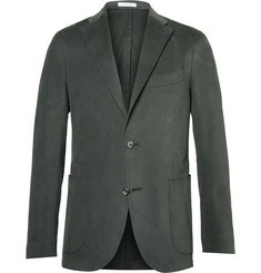 Boglioli Green Slim-Fit Brushed Stretch-Cotton Twill Suit Jacket