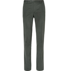 Boglioli - Green Slim-Fit Brushed Stretch-Cotton Twill Suit Trousers