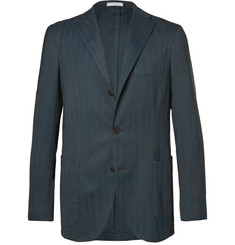 Boglioli Blue Slim-Fit Herringbone Stretch Wool-Blend Blazer