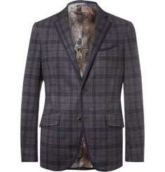 Etro - Blue Slim-Fit Checked Cotton and Wool-Blend Blazer