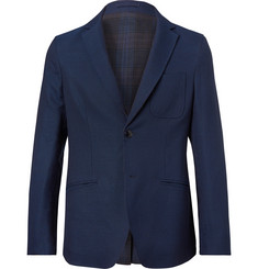 Etro Blue Slim-Fit Reversible Stretch-Wool Blazer