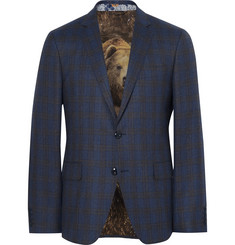 Etro Blue Slim-Fit Checked Wool Blazer