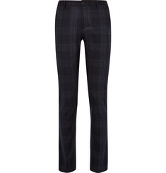 Etro Blue Slim-Fit Checked Stretch Wool-Blend Trousers
