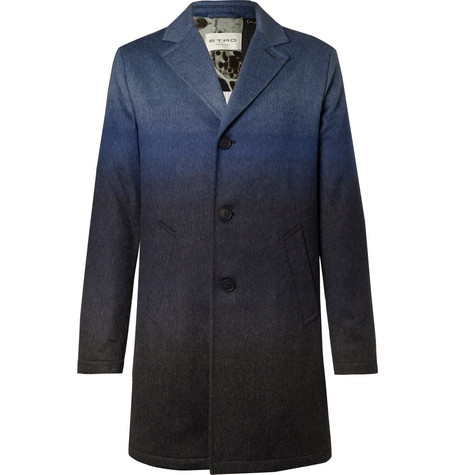Dégradé Mélange Wool-blend Coat - Blue