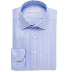 Etro Blue Slim-Fit Striped Cotton-Jacquard Shirt