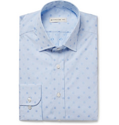 Etro Blue Slim-Fit Embroidered Polka-Dot Cotton-Poplin Shirt