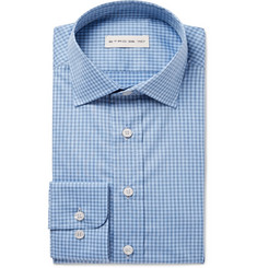 Etro - Blue Slim-Fit Gingham Cotton-Poplin Shirt