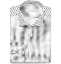Etro White Slim-Fit Polka-Dot Cotton-Poplin Shirt