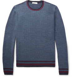 Etro Contrast-Trimmed Herringbone Wool Sweater