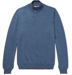 Etro Contrast-Tipped Mélange Wool Half-Zip Sweater